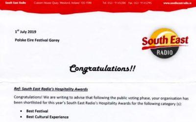 South East Radio Hospitality Awards, 2 Nominacje dla PolskaÉire Festiwal w Gorey!